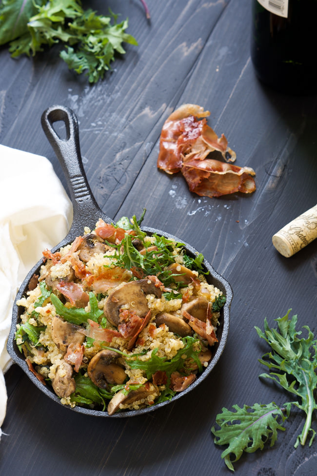 Cheesy Quinoa is a indulgent side dish that is spruced up with gooey mozzarella, soft mushrooms, kale and buttery prosciutto! Perfect side dish for Easter or any celebration!