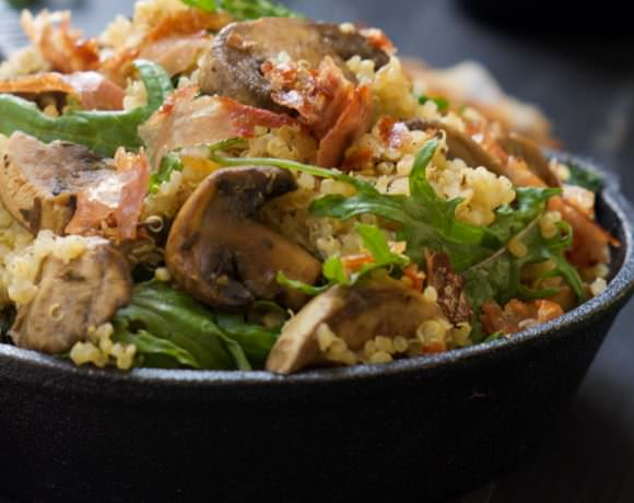 Cheesy Quinoa with Prosciutto, Mushrooms and Kale