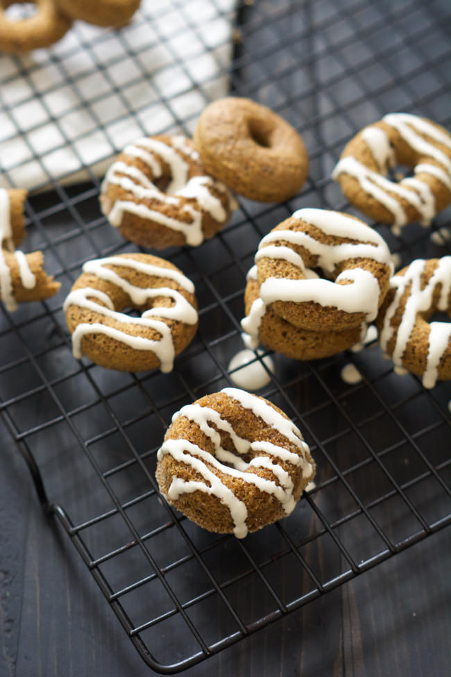 A Churro inspired treat, Cinnamon Sugar Donuts are whole wheat, come together in one bowl and drizzled with a light cream cheese glaze!