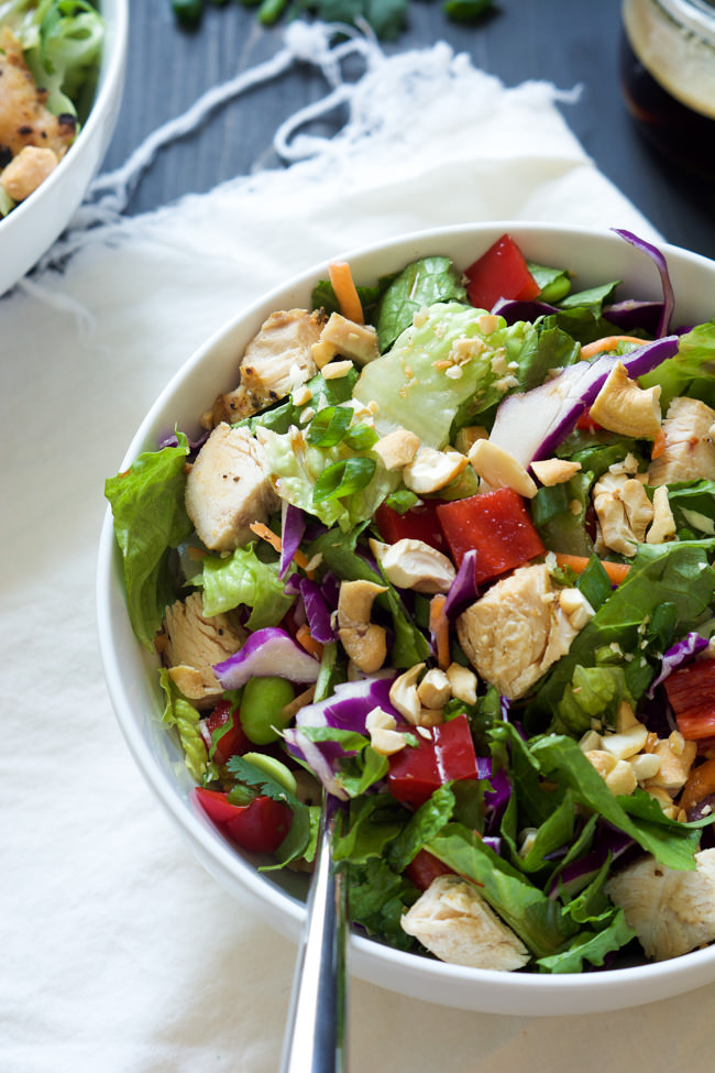 This simple chopped Crispy Thai Cashew Chicken Salad has robust flavors of soy, honey, peanut butter, ginger and red pepper flakes. Then tossed with chicken and fresh vegetables, topped with cilantro, green onions and crunch cashews!