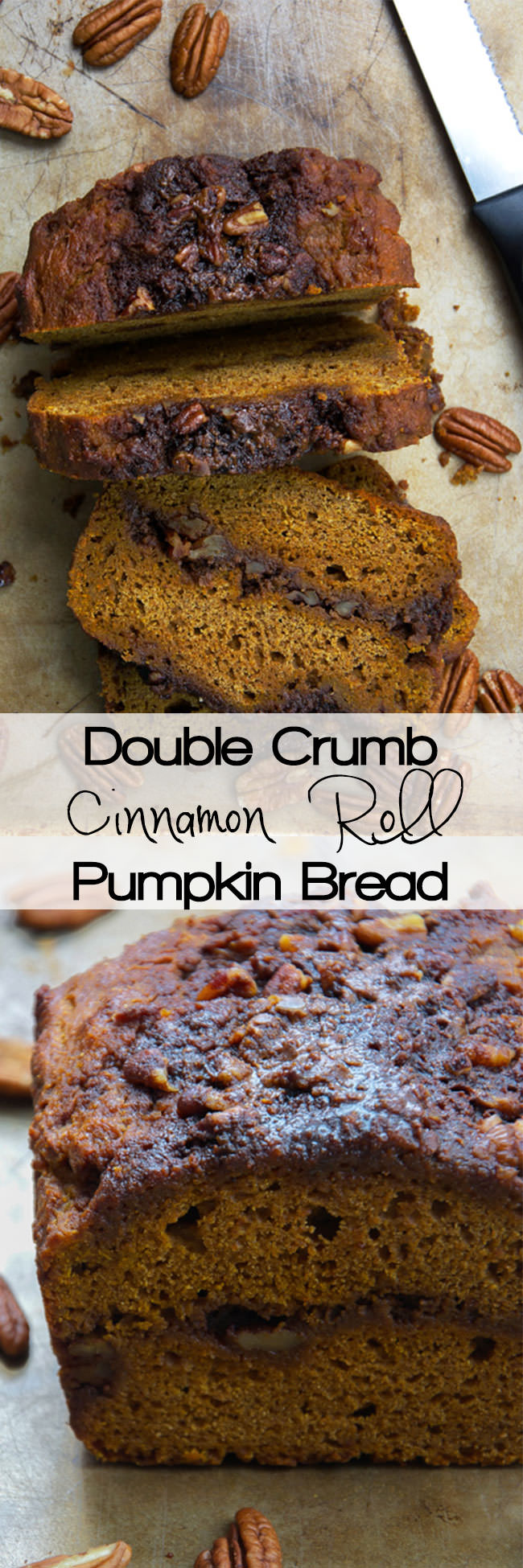 Healthier Double Crumb Cinnamon Roll Pumpkin Bread is moist and filled with a double sugary cinnamon roll filling! It is the best of both worlds that is easy to make, delicious and guilt free!