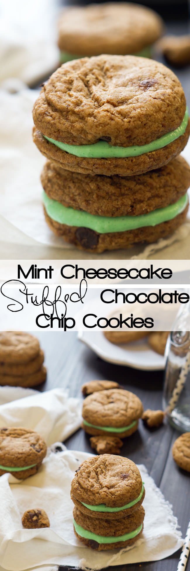 Mint Cheesecake Stuffed Chocolate Chip Cookies are filled with a creamy, mint cheesecake mixture that is perfect for your sweet tooth or any party!
