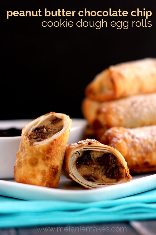 Peanut Butter Chocolate Chip Cookie Dough Egg Rolls | Melanie Makes