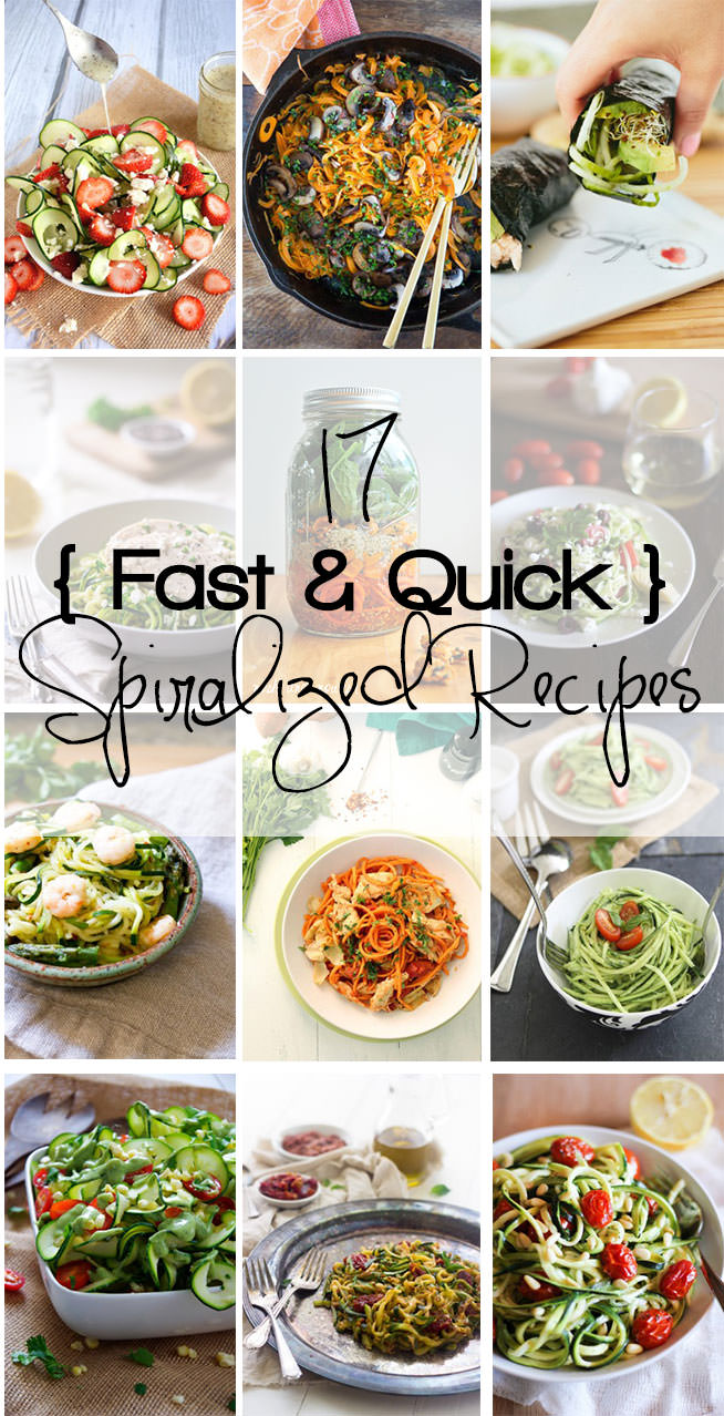 17 fresh & quick spiralized recipes that are perfect for warmer days! Healthy, quick and fresh dinners that are full of nutrition.