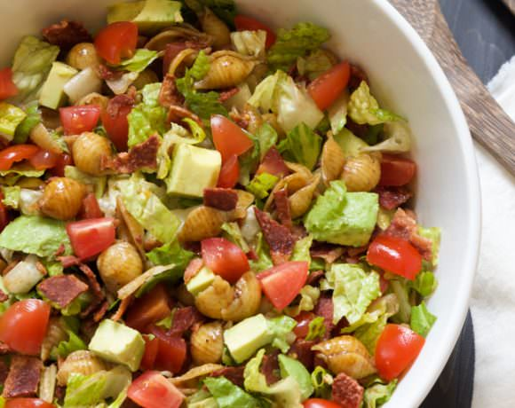 BLT Pasta Salad with Balsamic Dijon Vinaigrette