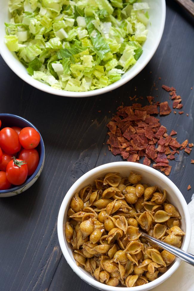 BLT Pasta Salad with Balsamic Dijon Vinaigrette