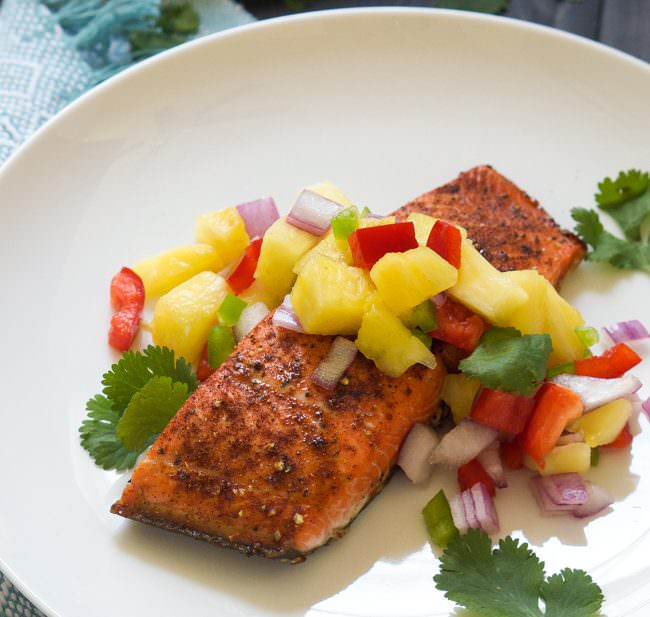... salmon with spicy pineapple salsa chile spiced salmon is broiled to