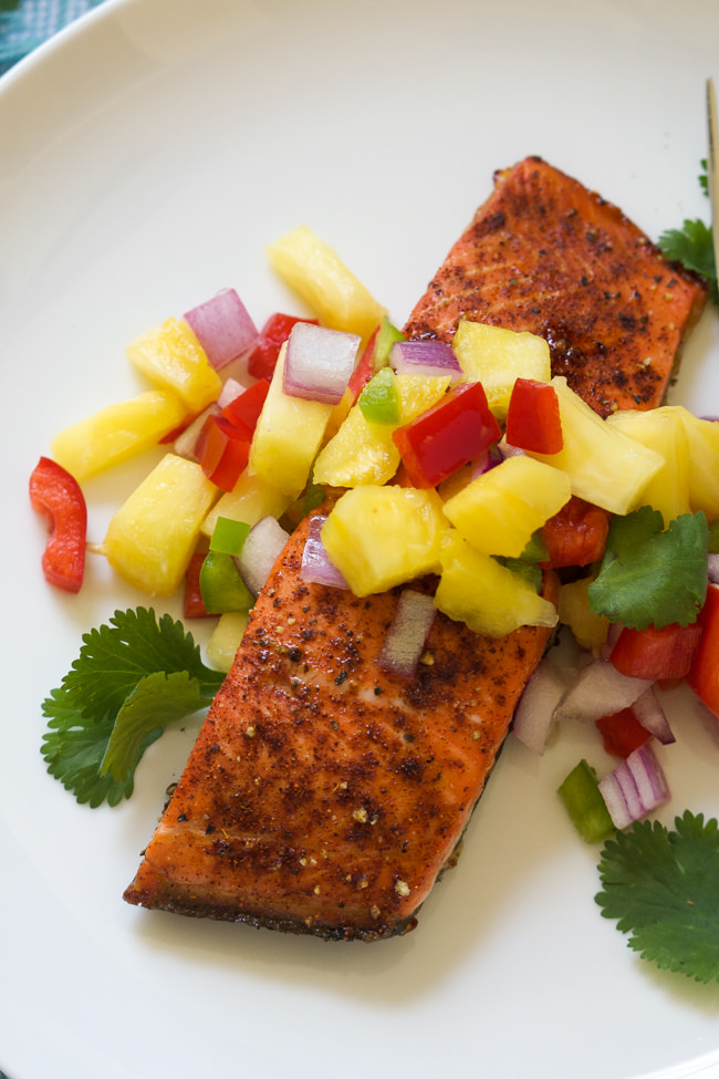 spiced salmon is broiled to perfection, leaving a spicy and sweet ...
