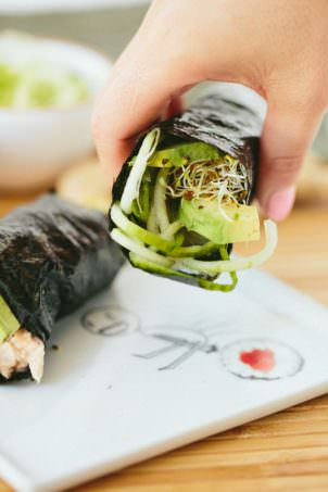 Cucumber-Avocado Tuna Hand Rolls with Sriracha Ginger Fayo | Inspiralized