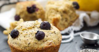 Flourless Blueberry Lemon Poppyseed Muffins