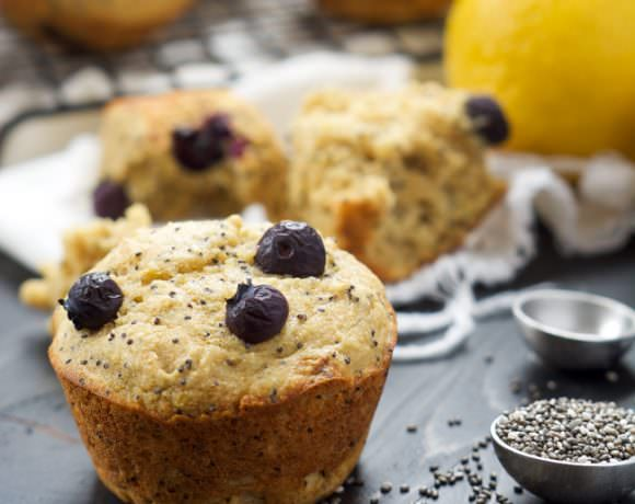 Flourless Blueberry Lemon Poppyseed Muffins
