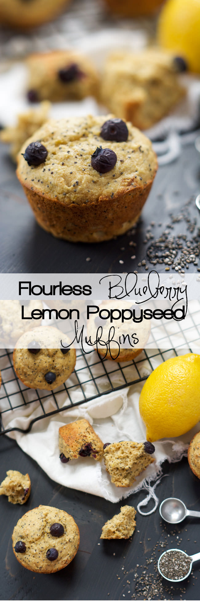 Sweet, nutty and full of blueberries; these Flourless Blueberry Lemon Poppyseed Muffins are the perfect on the go breakfast or ideal for a lazy Sunday morning Brunch!