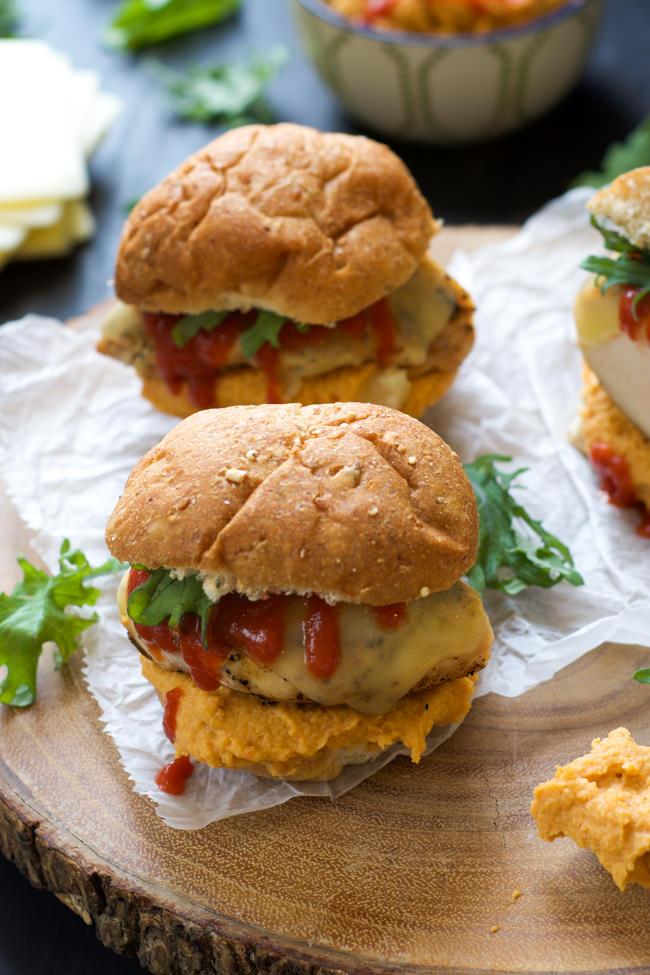 Sweet and spicy Honey Sriracha Hummus tops a juicy chicken sandwich ...