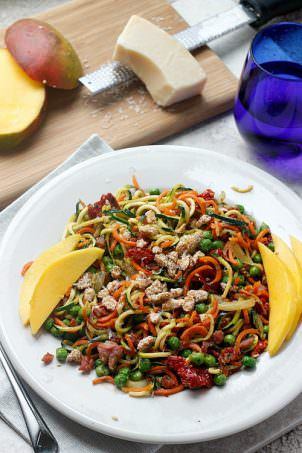 Pancetta and Sweet Pea Zucchini Noodles | Fabtastic Life