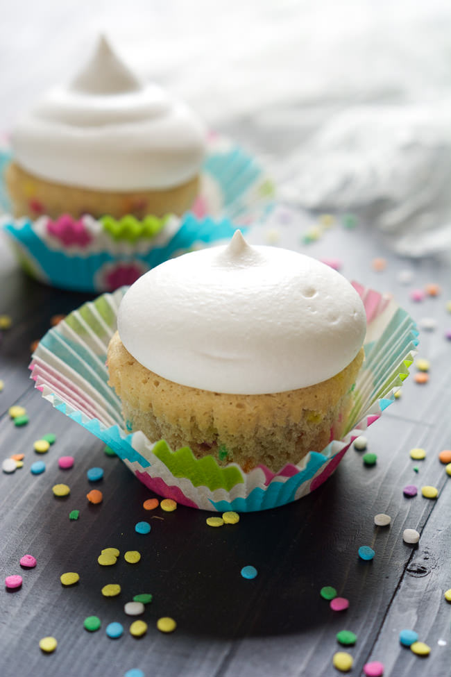 For those times when you get a cupcake craving and have no need for a whole batch! These Greek Yogurt Funfetti Cupcakes are skinny so no worries if you eat them both!