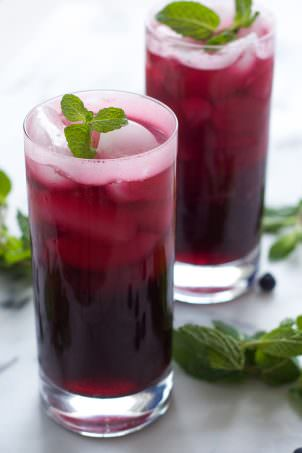 A fruity, summer staple just got made over! Skinny Sparkling Blueberry Mojito is fruity, minty and super refreshing when made with a homemade blueberry simple syrup and topped with sparkling water!