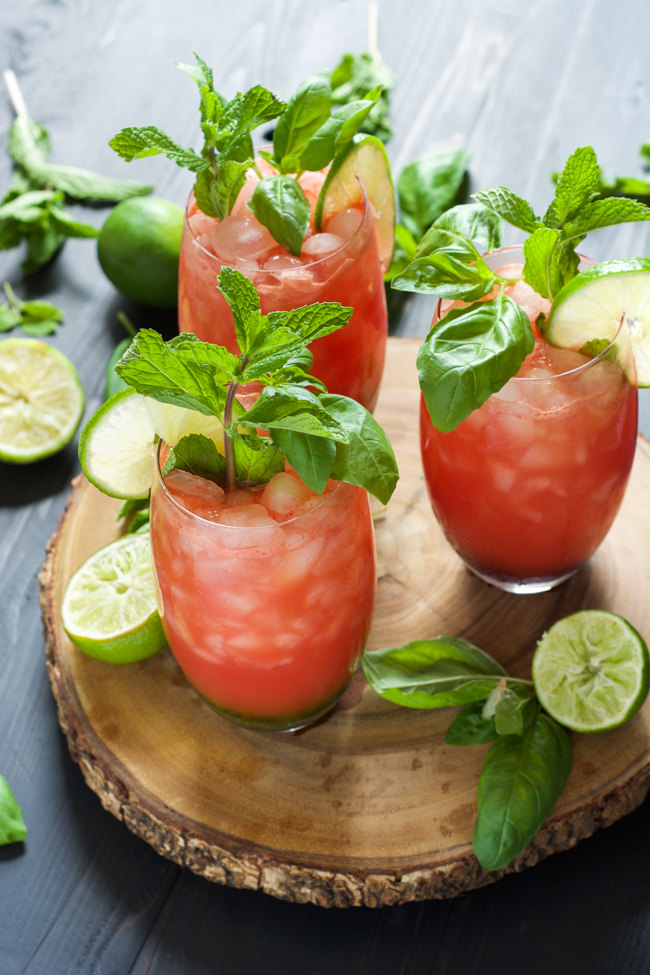 A refreshing and fruit filled drink! Skinny Watermelon Limeade is pureed watermelon and lime juice mixed with simple syrup for a light and healthy beverage!