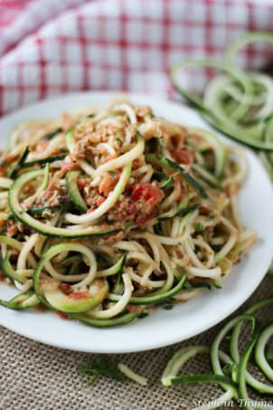 Spiralized Zucchini with Mint Pesto | Steph in Thyme