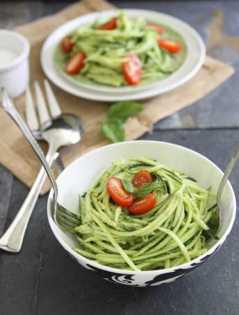 Zucchini Pasta with Avocado Cream Sauce | Running to the Kitchen