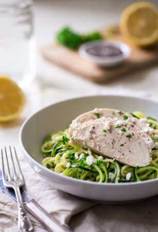 Zucchini Noodles with Lemon Chia Greek Yogurt Chicken | Food Faith Fitness