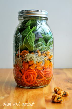 Mason Jar Carrot Noodle Salad with with Sweet Chili Vinaigrette | Nosh and Nourish