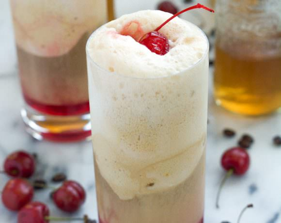 Cherry Vanilla and Salted Caramel Affogatos {Ice Cream Floats}