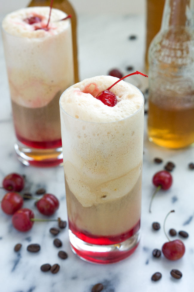Cherry Vanilla and Salted Caramel Affogatos are a fancy take on ice cream floats! With cherries, salted caramel gelato, vanilla iced coffee and cream soda, this dessert is sure to hit the spot!