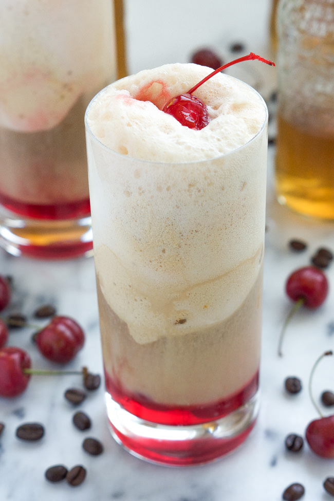 ... ice cream floats! With cherries, salted caramel gelato, vanilla iced