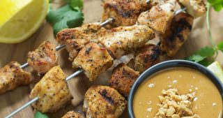 Garlic Chicken Skewers with Szechuan Peanut Sauce