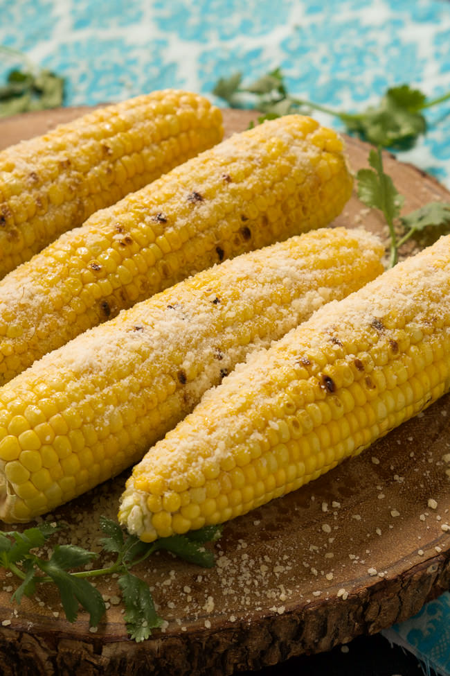 grilled garlic parmesan corn on the cob megan yields 4 grilled garlic ...