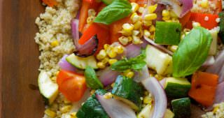 Grilled Summer Vegetable Quinoa Salad with Lemon Basil Vinaigrette