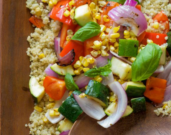 A nutrient and superfood dense salad - this Grilled Summer Vegetable Quinoa Salad is bursting with flavors and drizzled with a light, Lemon Basil Vinaigrette!