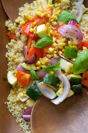 Grilled Summer Vegetable & Quinoa Salad with Lemon Basil Vinaigrette_-9