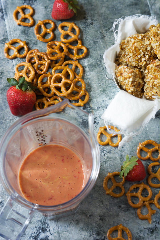 Your favorite crunchy pretzels just got together with chicken for a new take on 'fried chicken'! Honey Mustard Pretzel Crusted Chicken Bites with Strawberry Dijon Dipping Sauce are sweet, savory and spicy all in one bite!