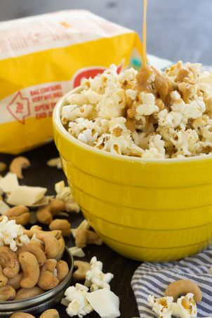 treat that takes minutes to make! Skinny Peanut Butter Caramel Popcorn ...