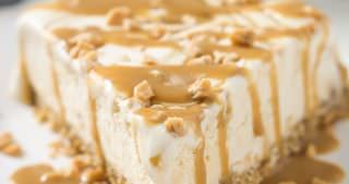 Skinny Toffee Caramel Ice Cream Cake with Oatmeal Cookie Crust