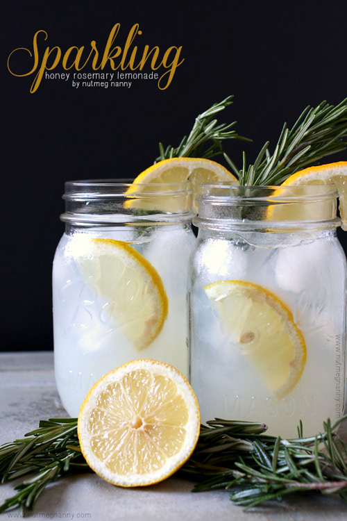 Sparkling Honey Rosemary Lemonade | Nutmeg Nanny