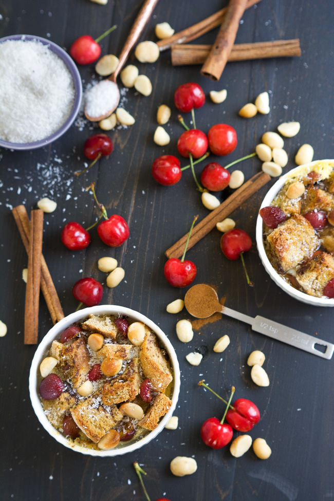 All the flavor of a breakfast favorite but for two! English Muffin French Toast cups are sprinkled with fresh cherries and buttery macadamia nuts for a gourmet breakfast!