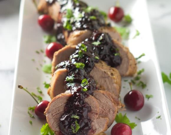 Cherry Chipotle Glazed Pork Tenderloin