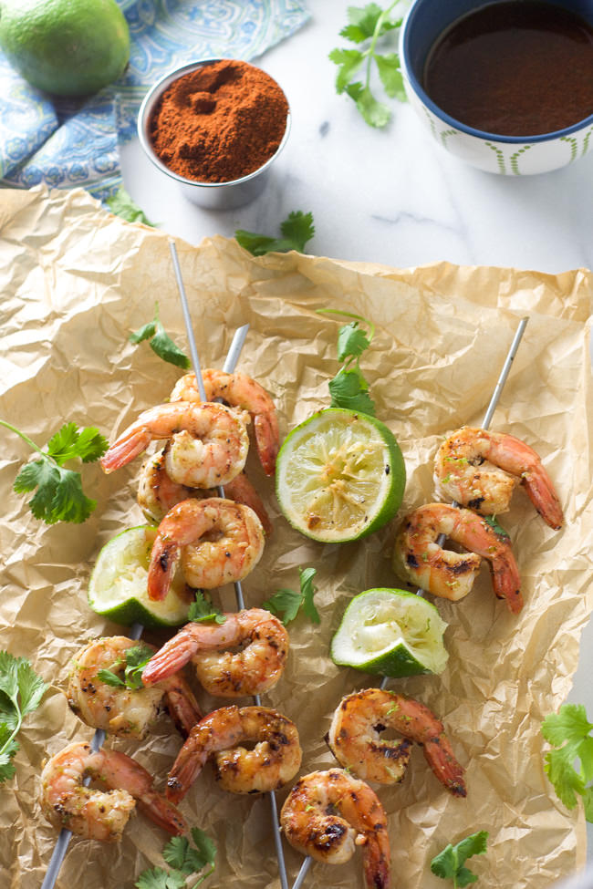 Sweet and saucy spicy cilantro shrimp skewers are ready in 20 minutes ...