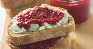Raspberry and Whipped Honey Goat Cheese Bruschetta