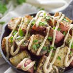 Roasted Herb Potatoes with Garlic Cumin Aioli are crunchy and creamy and served with a simple, garlic and cumin loaded aioli!