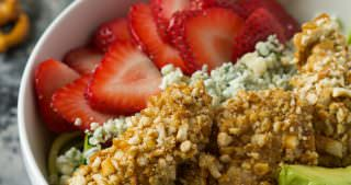 Spiralized Strawberry and Honey Mustard Pretzel Chicken Cobb Salad