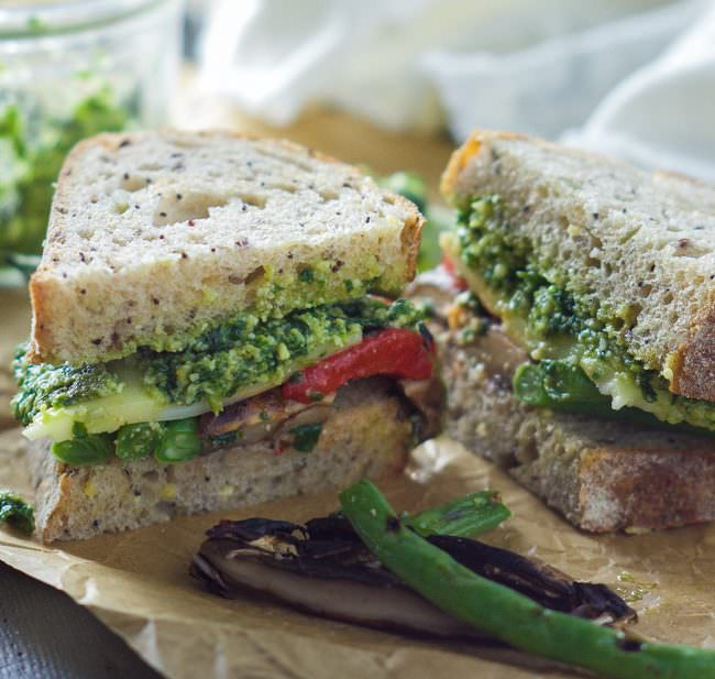 ... roasted vegetable sandwich with skinny pesto a sandwich that is full