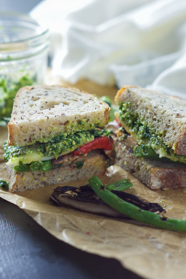 Farmers Market Roasted Vegetable Sandwich with Skinny Pesto