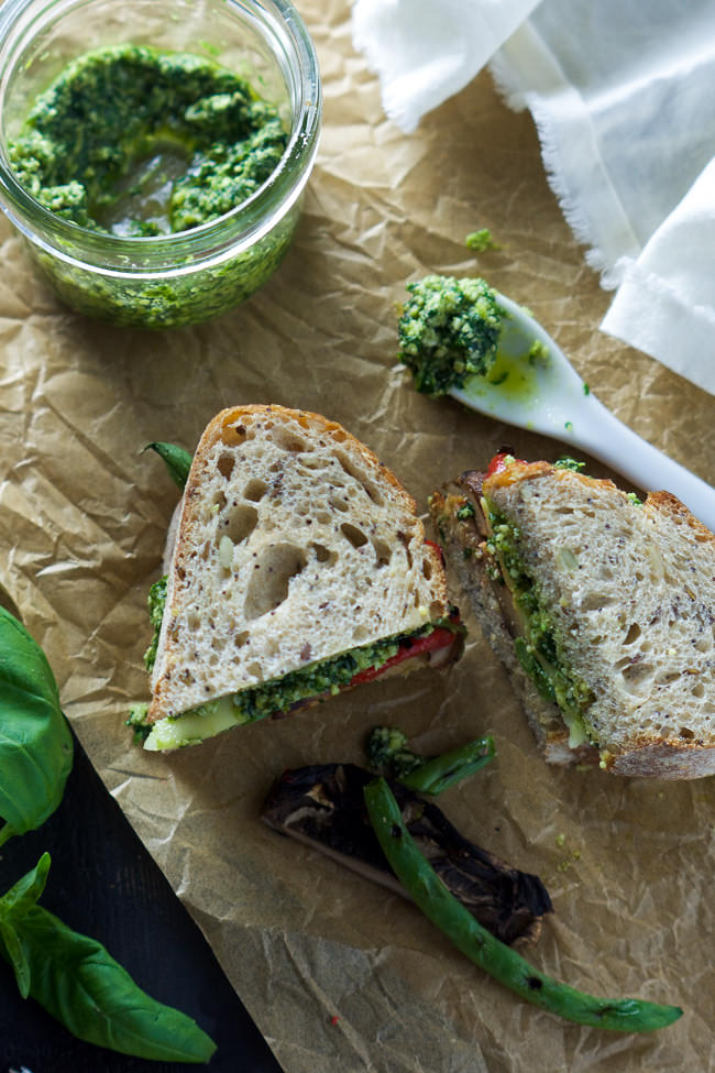 of flavor! Farmers Market Roasted Vegetable Sandwich with Skinny Pesto ...