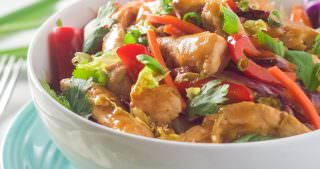 {30 Minute} Honey Sriracha Chicken Rice Noodle Bowls