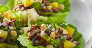 Spicy Pineapple BBQ Pork Lettuce Wraps