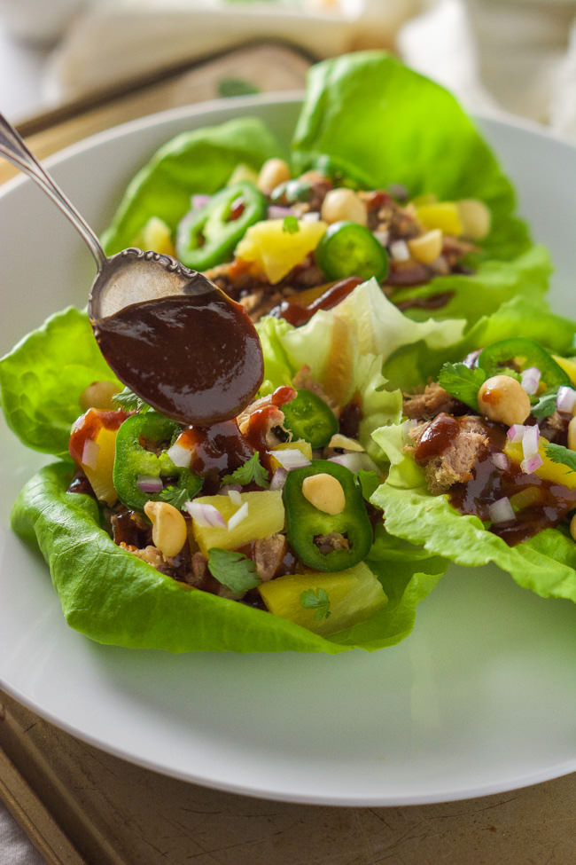 but in a slimmed down dish! Spicy Pineapple BBQ Pork Lettuce Wraps ...