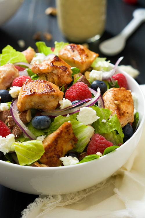 Blueberry & Goat Cheese Chicken Salad with Peanut Dijon Dressing   With Salt and Wit